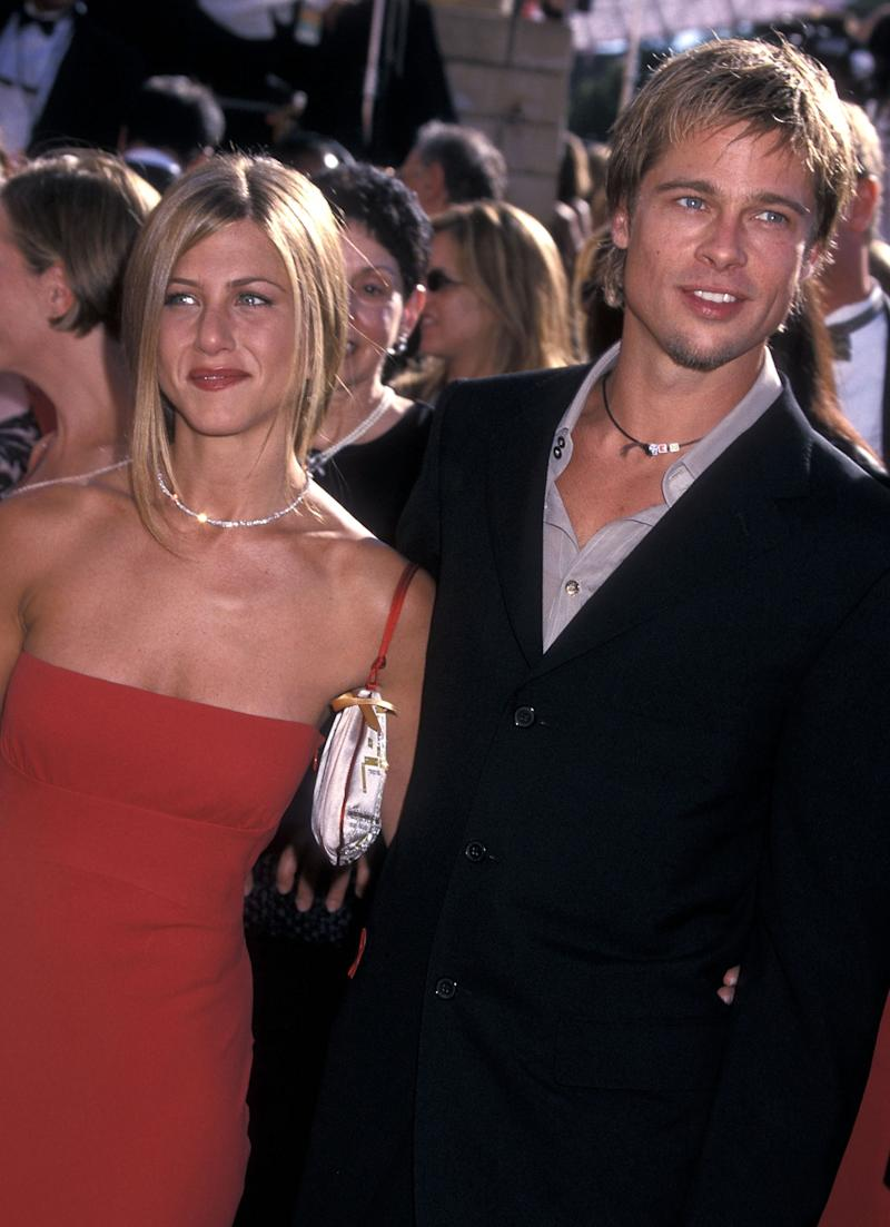Actress Jennifer Aniston and actor Brad Pitt attend the 52nd Annual Primetime Emmy Awards on September 10, 2000 at Shrine Auditorium in Los Angeles, California. (Photo by Ron Galella, Ltd./Ron Galella Collection via Getty Images)