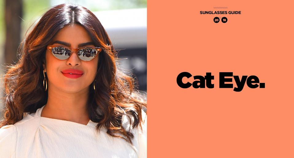 <p>Priyanka Chopra's style is feminine and classic, just like her choice of eyewear: cat-eye frames, easily one of the most versatile, and a must for the summertime. (Photo: Getty Images; art: Quinn Lemmers for Yahoo Lifestyle) </p>