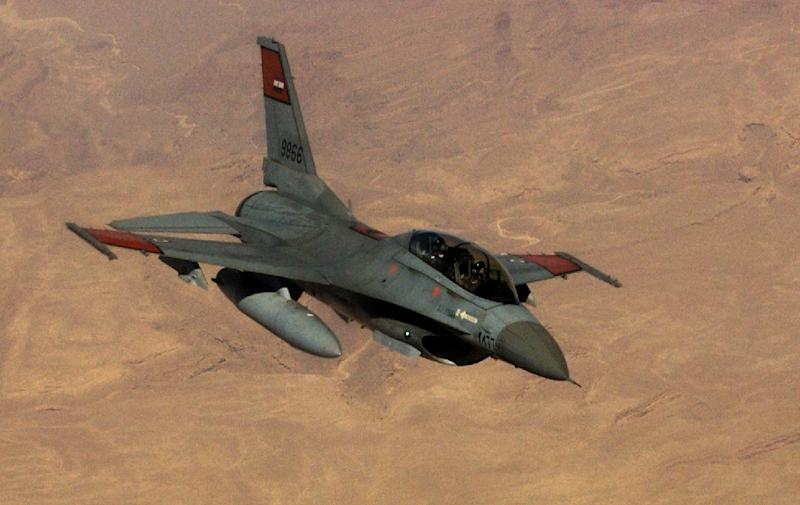 A picture taken on October 20, 2007, and released by the US Air Force shows an F-16 fighter jet flown by the Egyptian Air Force during a flight refueling training over Egypt