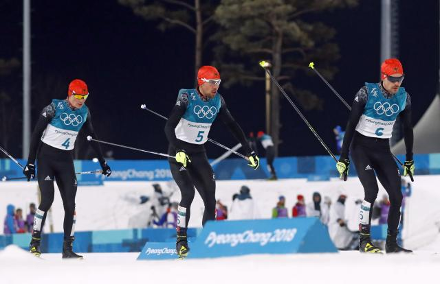 Nordic Combined Events - Pyeongchang 2018 Winter Olympics - Men's Individual 10 km Final - Alpensia Cross-Country Skiing Centre - Pyeongchang, South Korea - February 20, 2018 - Eric Frenzel of Germany, Johannes Rydzek of Germany and Fabian Riessle of Germany in action. REUTERS/Kai Pfaffenbach