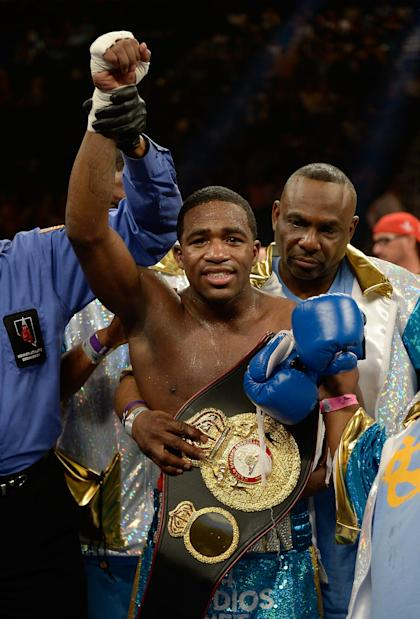 Adrien Broner celebrates after beating Carlos Molina. (Getty)