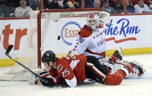 Washington Capitals goalie Braden Holtby (70) makes a save on Ottawa Senators Chris Neil (25) during the second period of an NHL game in Ottawa, Ontario on Thursday, April 18, 2013. (AP Photo/The Canadian Press, Justin Tang)