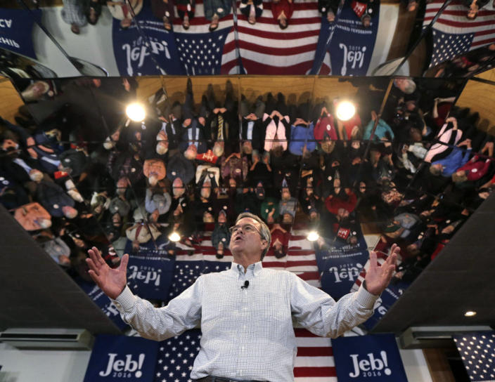 <p>Jeb Bush addresses a gathering at a campaign stop in Manchester, N.H., Monday, Feb. 1, 2016. <i>(Photo: Charles Krupa/AP)</i></p>