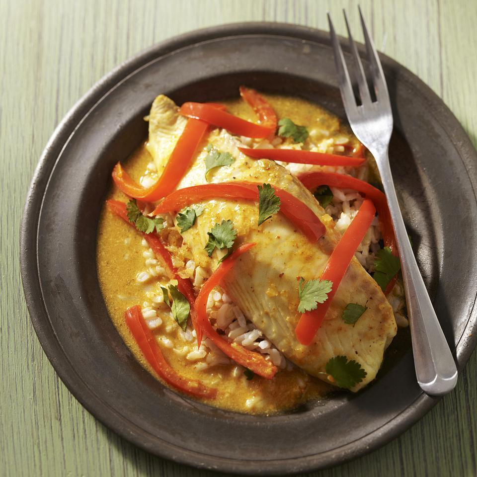 <p>This healthy fish-and-vegetable curry recipe is made with yellow curry paste, but any Thai curry paste--red or green--will work. Serve with sautéed green beans and brown basmati rice to soak up all the delicious sauce.</p>