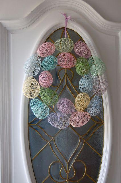 """<p>Kids will love making this cheerful wreath to display on your front door. </p><p><strong>Get the tutorial at <a href=""""http://www.wineandglue.com/2012/03/easter-egg-wreath.html"""" rel=""""nofollow noopener"""" target=""""_blank"""" data-ylk=""""slk:Wine and Glue"""" class=""""link rapid-noclick-resp"""">Wine and Glue</a>.</strong></p>"""