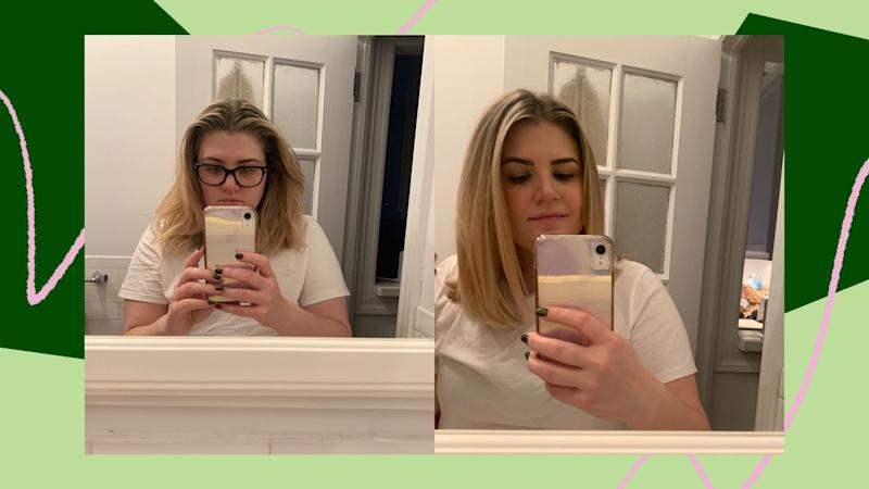 Why I chose to take mirror photos instead of selfies, I do not know. It was early and I was tired. On the right, you can see what 20 minutes with the Revlon One-Step can do. (Photo: Brittany Nims / HuffPost)