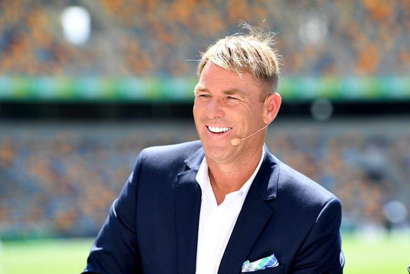BRISBANE, AUSTRALIA - NOVEMBER 24: Shane Warne is seen during day four of the 1st Domain Test between Australia and Pakistan at The Gabba on November 24, 2019 in Brisbane, Australia. (Photo by Bradley Kanaris/Getty Images)