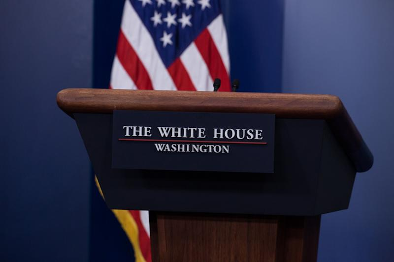 The empty podium in the James S. Brady Press Briefing Room of the White House. (Photo: Cheriss May/NurPhoto via Getty Images)