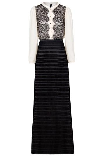 Be dramatic in this floor-length monochrome Mango gown