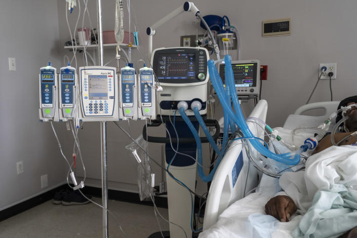 A patient in a COVID-19 intensive care unit
