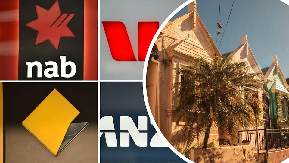 Australian houses, logos of NAB, CommBank, Westpac and ANZ.