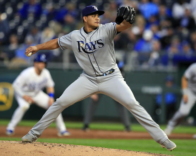 Tampa Bay Rays pitcher Yonny Chirinos delivers to a Kansas City Royals batter during the second inning of a baseball game at Kauffman Stadium in Kansas City, Mo., Monday, April 29, 2019. (AP Photo/Orlin Wagner)