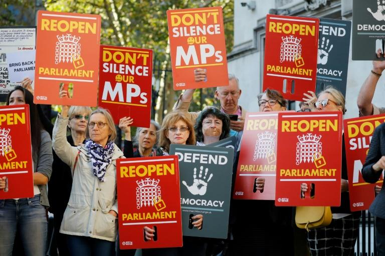 Demonstrators protested outside the Supreme Court in central London on the first day of the hearing (AFP Photo/Tolga AKMEN)