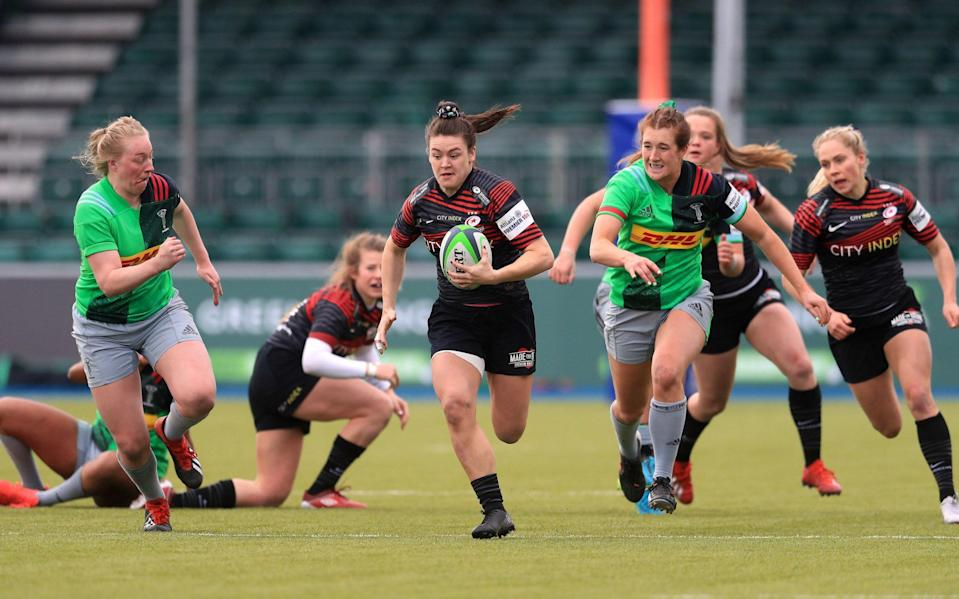 Saracens' Alysha Corrigan breaks clear during the Women's Allianz Premier 15's match at the StoneX Stadium, London. Picture date: Saturday March 27, 2021. - PA