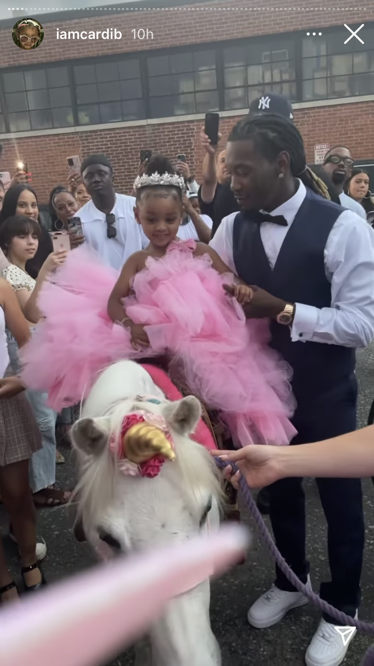 The little girl rode a horse which had been dressed as a unicorn (Cardi B/Instagram)