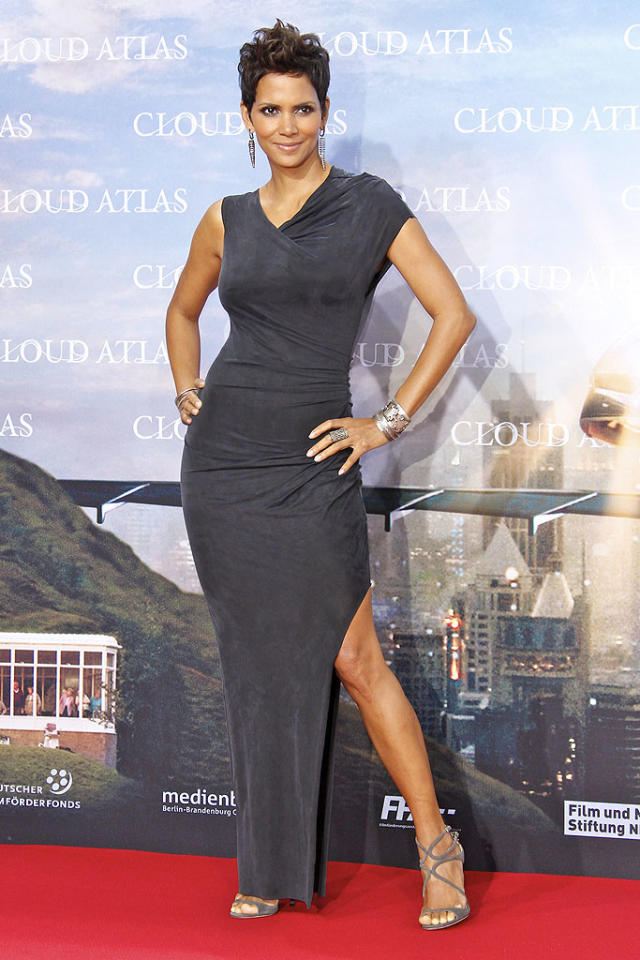 """Speaking of head-turners, check out Halle Berry and the stunning ensemble she donned for the Berlin premiere of """"Cloud Atlas."""" The Oscar winner -- who never lets us down on the red carpet -- once again stole the spotlight thanks to her flawless features and this equally alluring Helmut Lang frock. Statement earrings and strappy Jimmy Choo heels completed her outfit. (11/5/2012)"""