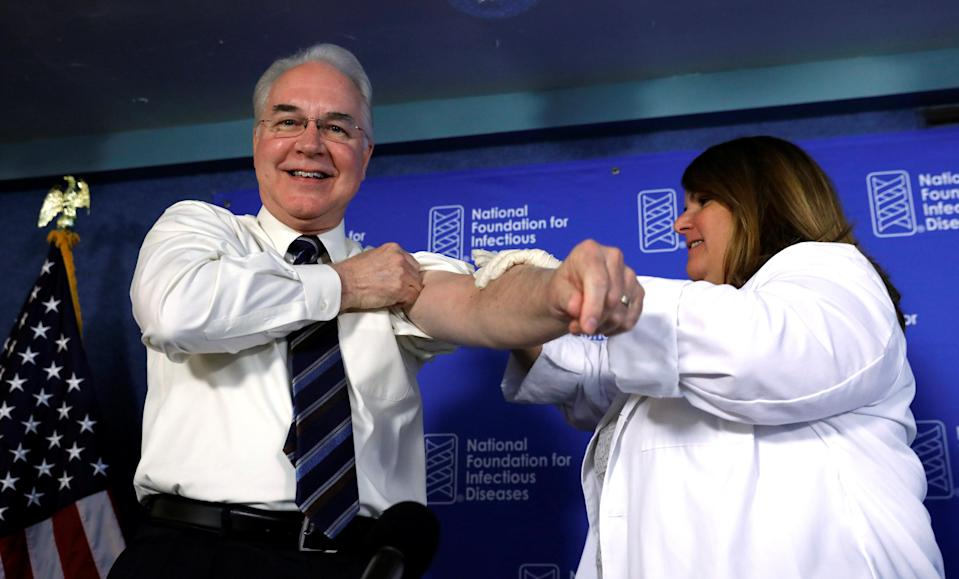 In his final days as Secretary of Health and Human Services, Tom Price got a flu shot and cut outreach to get people to sign up for health insurance. (Reuters/Kevin Lamarque)