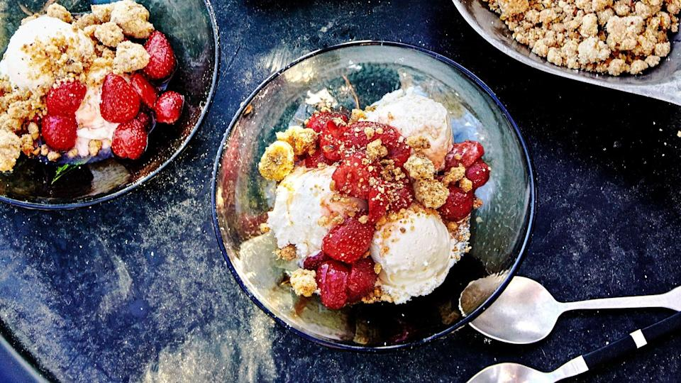 "A salty pistachio topping, juicy macerated fruit, and store-bought ice cream combine for a back-pocket dessert that might feel a bit like cheating but is so good nobody will care. <a href=""https://www.epicurious.com/recipes/food/views/salted-pistachio-crumbles-with-berries-and-ice-cream-sundae?mbid=synd_yahoo_rss"" rel=""nofollow noopener"" target=""_blank"" data-ylk=""slk:See recipe."" class=""link rapid-noclick-resp"">See recipe.</a>"
