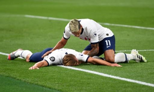 Harry Kane fell to the ground as he celebrated Tottenham's second goal
