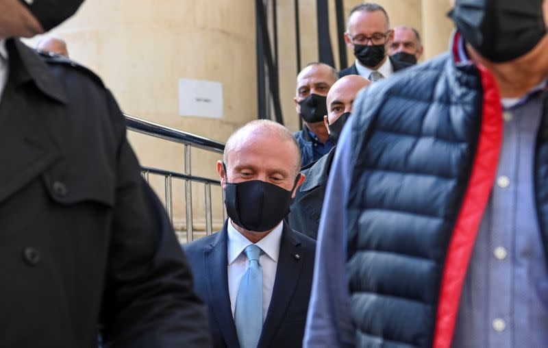 Former Maltese PM Muscat leaves court after appearing at a public inquiry into the murder of a journalist Daphne Caruana Galizia, in Valletta