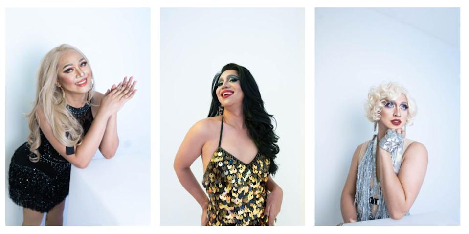 Filipina Drag Queens Andy Crocker, Vinas DeLuxe, and Lady Gagita share with Yahoo Philippines that while they were displaced from the nightclubs that closed because of the pandemic, they are able to find ways to rise up to the challenge. (Photos courtesy of TaskUs)