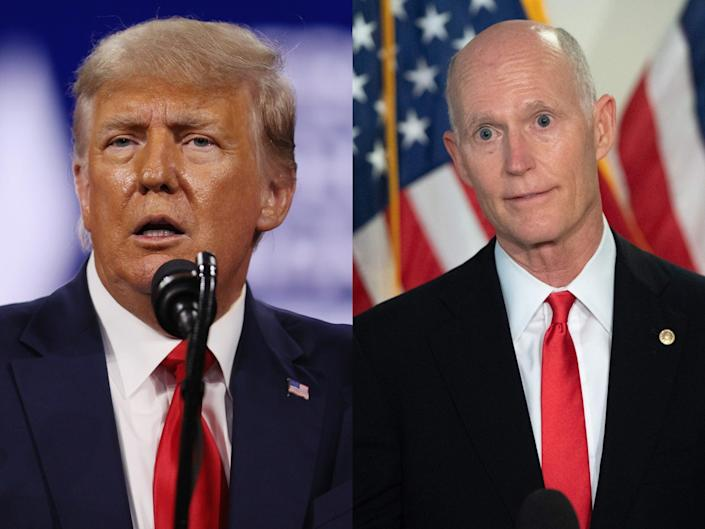 <p>Rick Scott says he gave Trump a 'Champion of Freedom Award' because he 'worked hard'</p> (Getty)