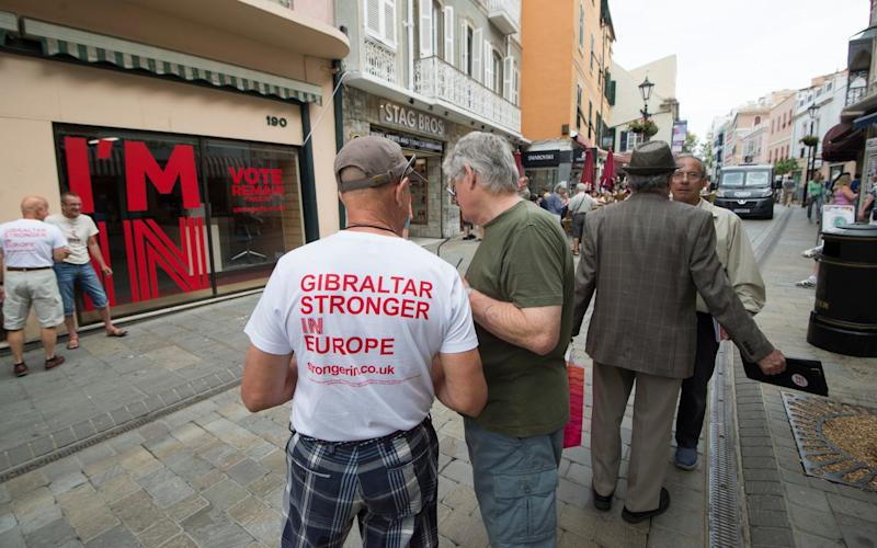 A volunteer for the Gibraltar Stronger in Europe campaigning before the Brexit vote - Credit: Paul Grover for the Telegraph