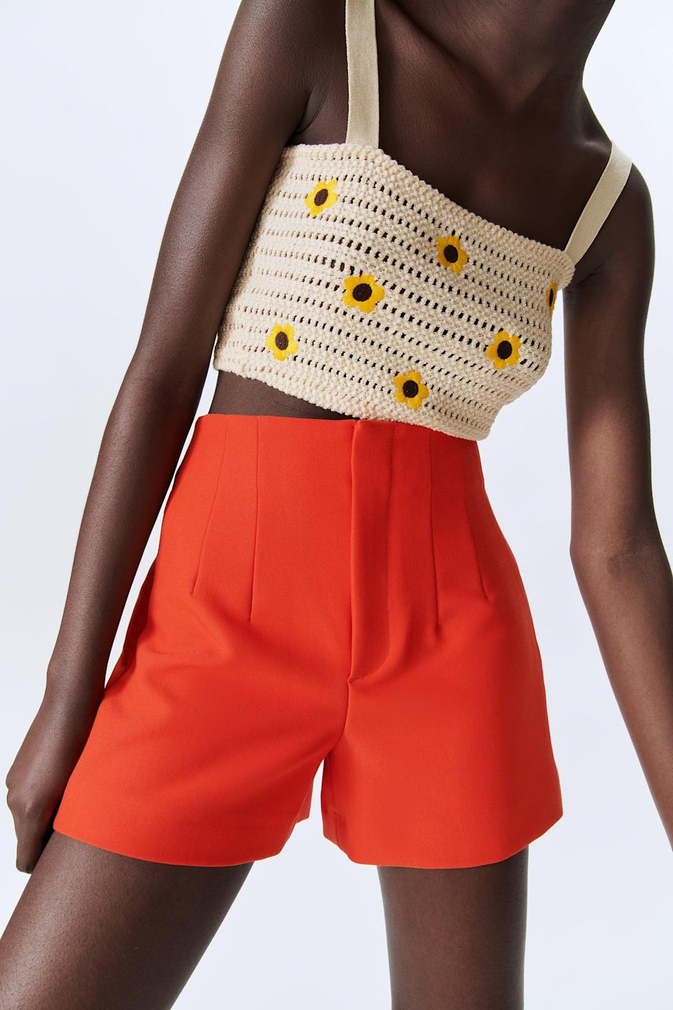 <p>These vibrant <span>Zara High Waisted Shorts</span> ($40) are begging to be taken on a vacation.</p>