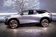 FILE PHOTO: The Nissan Ariya concept car, an electric crossover SUV, is displayed during the 2020 CES in Las Vegas