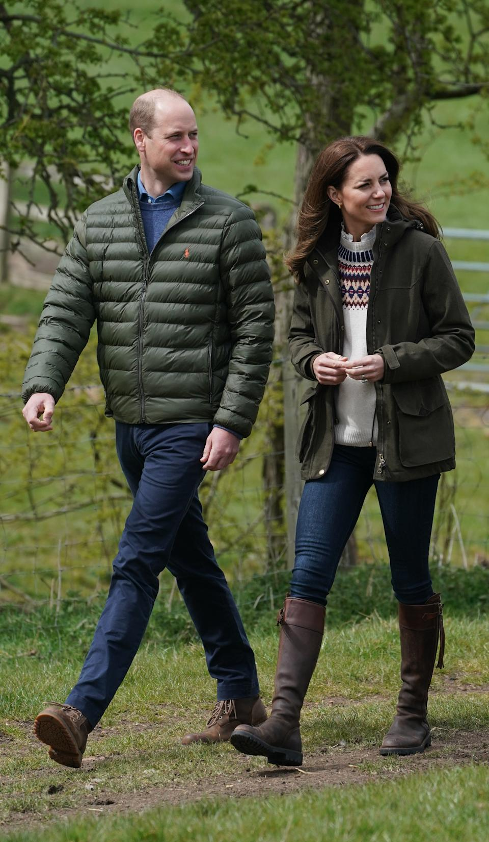The Duke and Duchess of Cambridge walk together during their visit to Manor Farm in Little Stainton, Durham, on 27 April, 2021. (PA Images)