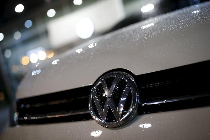 A logo of Volkswagen is seen on a Golf car parked at a dealership in Seoul