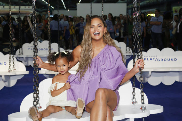 Chrissy Teigen tattooed a drawing done by her daughter Luna. (Photo by Lars Niki/Getty Images for POPSUGAR and Reed Exhibitions)