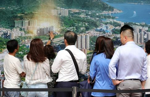 Potential buyers queue for 'Emerald Bay' developed by Evergrande Group in Wan Chai. on 28 October 2019. Photo: May Tse