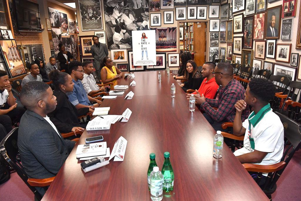 A general view of the cast 'The Hate U Give' inteviewing with student journalists during Atlanta University Center press junket at Morehouse College Martin Luther King, Jr. Chapel on October 4, 2018 in Atlanta, Georgia. (Photo by Paras Griffin/Getty Images for 20th Century Fox)