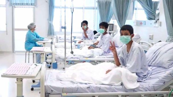PHOTO: Members of the 'Wild Boars' football team at a hospital in Chiang Rai, Thailand in a photo released by the government. (Thai government via AFP/Getty Images)