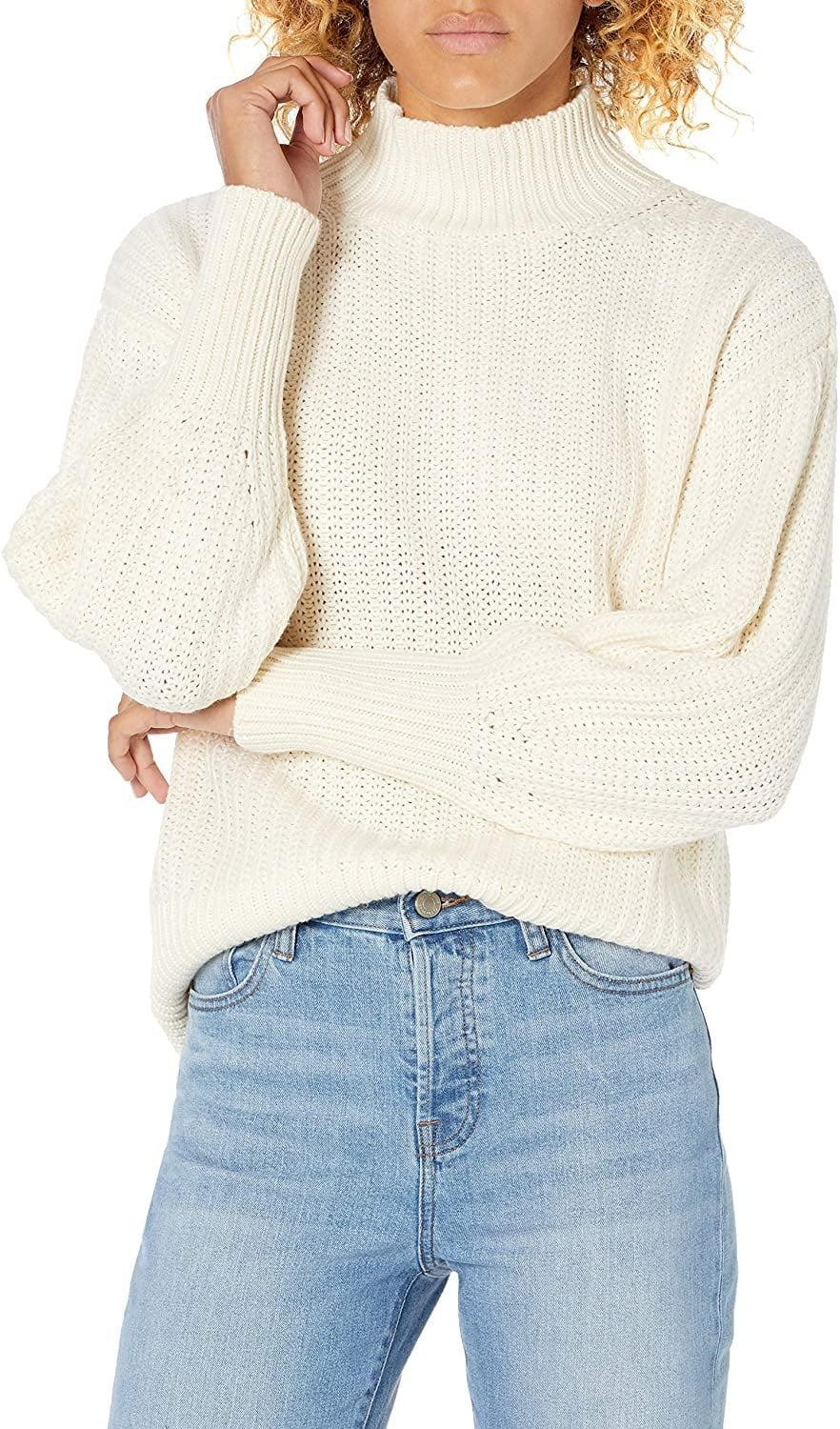 <p>Be cozy in this <span>The Drop Ines Chunky Rib Mock-Neck Sweater</span> ($50).</p>