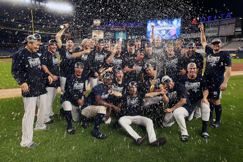 Sep 19, 2019; Bronx, NY, USA; the New York Yankees pose for a photo on the field as they celebrate after winning the American League East after defeating the Los Angeles Angels at Yankee Stadium. Mandatory Credit: Brad Penner-USA TODAY Sports