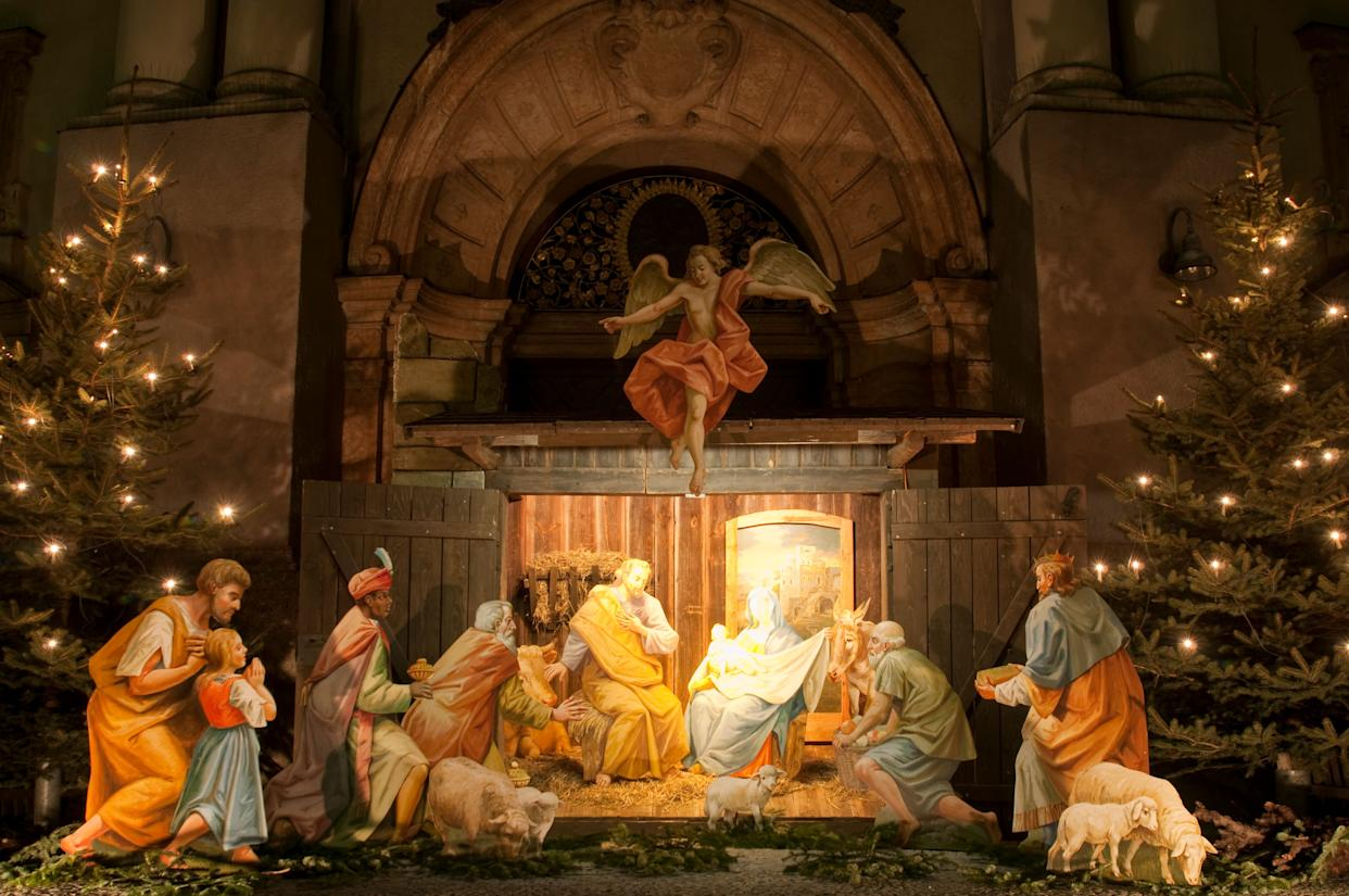 """St. Francis of Assisi is credited with <a href=""""http://www.slate.com/articles/life/holidays/2012/12/nativity_scene_history_why_people_put_up_cr_ches_for_christmas.html"""" rel=""""nofollow noopener"""" target=""""_blank"""" data-ylk=""""slk:staging the first nativity scene"""" class=""""link rapid-noclick-resp"""">staging the first nativity scene</a> in 1223.&nbsp;According to a biography of the saint written in 1263, St. Francis set up a manger complete with hay and two live animals in a cave in the Italian village of Grecio. He then invited villagers to visit the installation&nbsp;as he preached about &ldquo;the babe of Bethlehem.&rdquo; Nativity scenes, or&nbsp;cr&egrave;ches, eventually spread throughout Europe and the rest of the world&nbsp;and can be found in many churches and homes around Christmastime."""