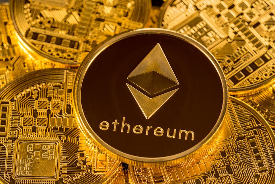 Ethereum or ether coin illustration. Photo: Getty