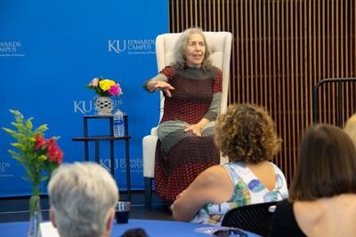 Artist Rita Blitt speaks at an event celebrating the gift of her work to the KU Edwards Campus in Overland Park, Kansas, on Aug. 16.