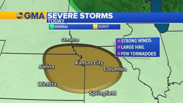 PHOTO: Severe weather is possible in northern Missouri and eastern Kansas on Sunday. (ABC News)