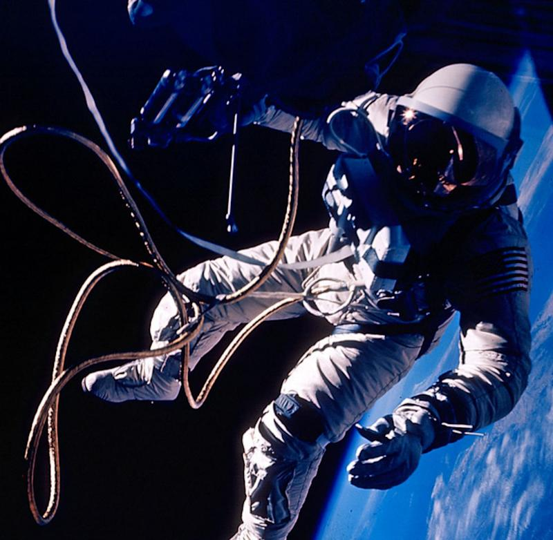 Ed White made the United States' first spacewalk on 3 June 1965 during the Gemini 4 mission. The extra-vehicular activity (EVA) started at 19:45 UT (3:45 p.m. EDT) on the third orbit when White opened his hatch and used the hand-held manuevering oxygen-jet gun to push himself out of the capsule. The EVA started over the Pacific Ocean near Hawaii and lasted 23 minutes, ending over the Gulf of Mexico. Initially, White propelled himself to the end of the 8 meter tether and back to the spacecraft three times using the hand-held gun. After the first three minutes the fuel ran out and White manuevered by twisting his body and pulling on the tether. The photographs were taken by commander James McDivitt 19:54 UT (3:54 p.m. EDT) Over New Mexico (NASA photo ID S65-30433)