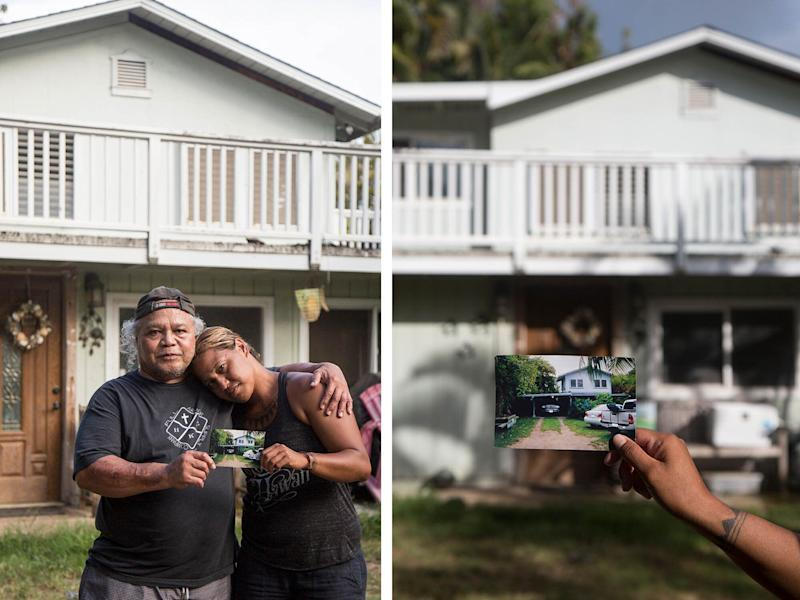 Left: Steven Oiph poses for a portrait with his youngest daughter, Kaʻiulani Manuwai, in the yard of their Kailua home. Right: Kaʻiulani Manuwai holds up an old photograph of what their home looked like prior to renovation. (Photo: MARIE ERIEL HOBRO )