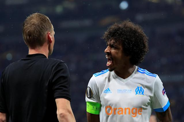 Soccer Football - Europa League Final - Olympique de Marseille vs Atletico Madrid - Groupama Stadium, Lyon, France - May 16, 2018 Marseille's Luiz Gustavo reacts after being booked REUTERS/Gonzalo Fuentes