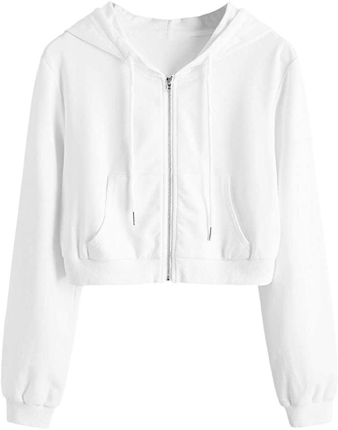 <p>You can't go wrong with this easy, bestselling <span>SweatyRocks Casual Full Zip Crop Hoodie</span> ($26). If you love a zip up, this is the one for you.</p>