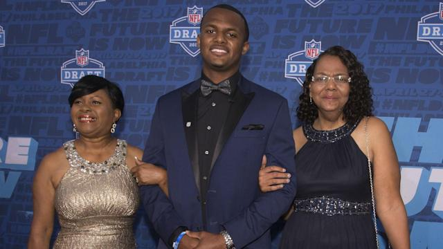 Watson was emotional when the Houston Texans took him Thursday night. He was even more emotional when reading a note from his mom.