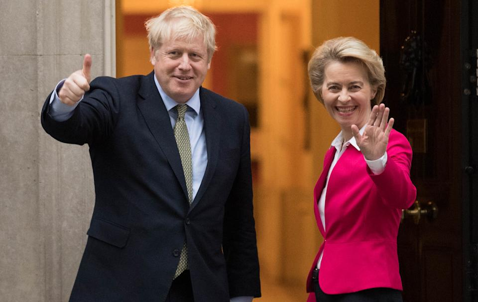 File photo dated 8/1/2020 of Boris Johnson and Ursula von der Leyen. The Prime Minister will speak to the president of the European Commission on Wednesday afternoon as his deadline for progress in post-Brexit trade talks draws near.