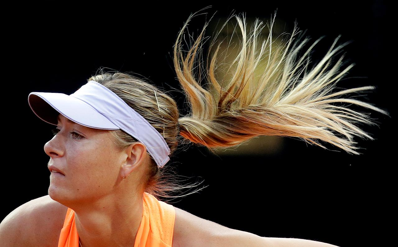 <p>Maria Sharapova serves the ball to Mirjana Lucic-Baroni at the Rome Open in Rome, Italy on May 16, 2017. (Photo: Max Rossi/Reuters) </p>