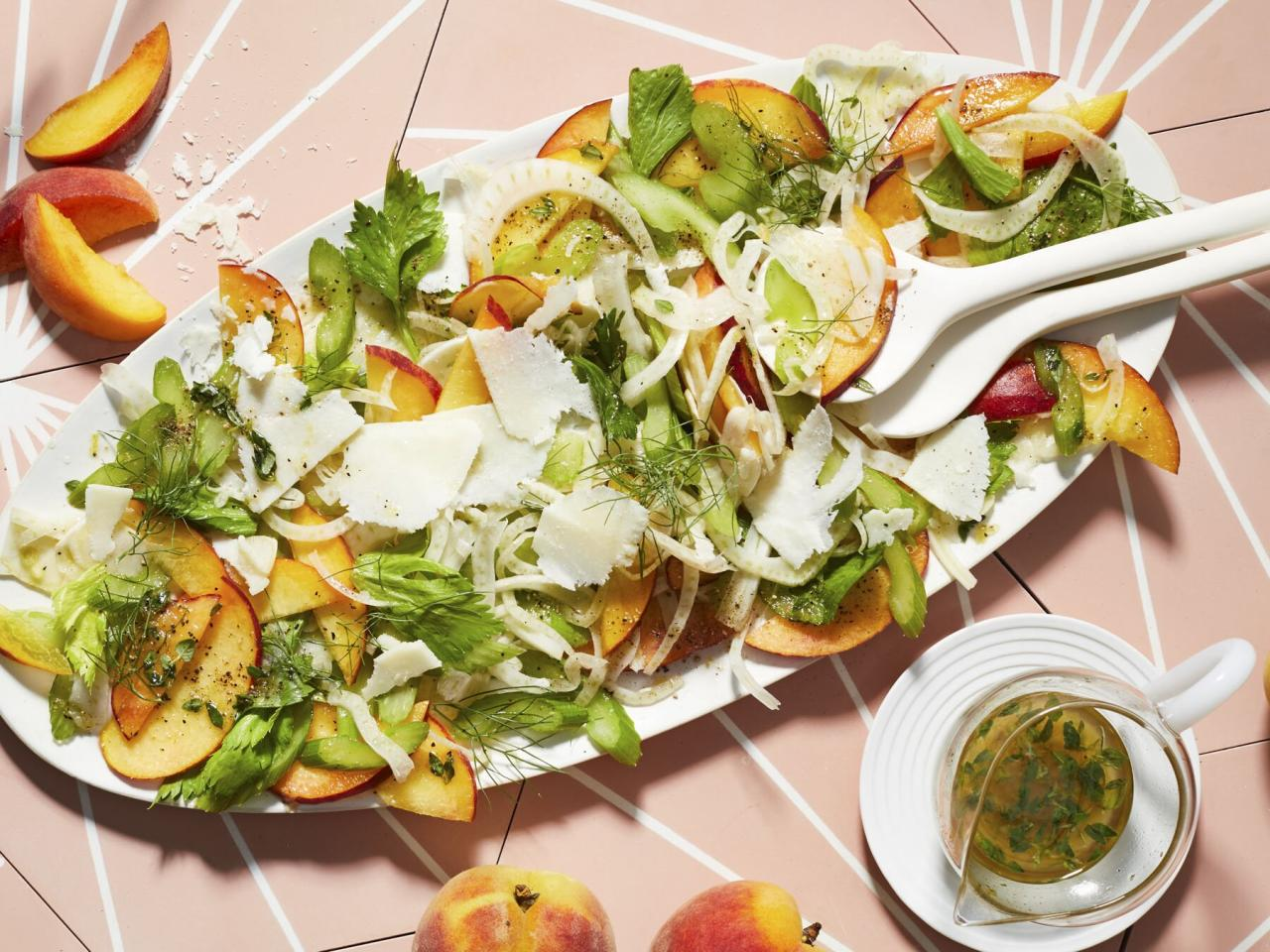 """<p>This salad is crunchy, sweet, salty, bright, and refreshing—in other words, it's perfect for summer. Peak-of-freshness peaches are the way to go here: If they're still ripe, but a little firm, that's perfect. Bonus points if you get them at a roadside stand. If you can find fennel with intact fronds, get that rather than fennel with the tops cut off—the fronds help make the salad feel special. Serve with flaky white fish and a nice glass of white wine or rosé. </p> <p><a href=""""https://www.myrecipes.com/recipe/peach-fennel-salad-pecorino"""">Peach-Fennel Salad with Pecorino Recipe</a></p>"""