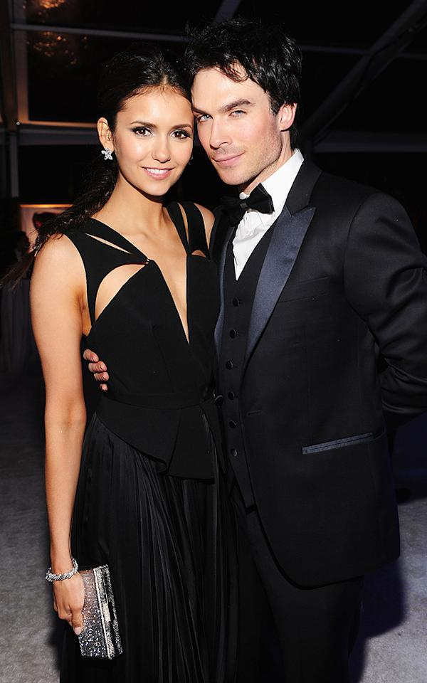 "Nina Dobrev (in J. Mendel) and her ""Vampire Diaries"" co-star/boyfriend Ian Somerhalder (in Armani) easily made for one of the evening's most stylish couples!<br>"